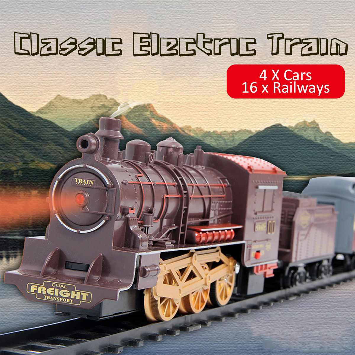 Retro Electric Train Toy Rails Remote Control Train Model Railway Set Train Dynamic Steam RC Trains Set Simulation Model Toy Set