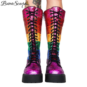 Image 4 - Buono Scarpe Bling Bling Women Mid Calf Boots Women Rainbow Sequined Botas Fenimina Cross Tied Platform Ladies Shoes 2019 New