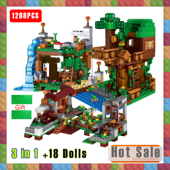 цена на 1208PCS City Village Warhorse The Jungle Tree House Waterfall Building Blocks Compatible Minecraftinglys Series + Figures Toys