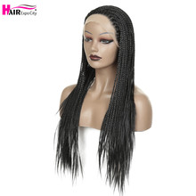 Braided Wig Lace-Front Hair Heat-Resistant Brown Black Synthetic Long Women 32inch