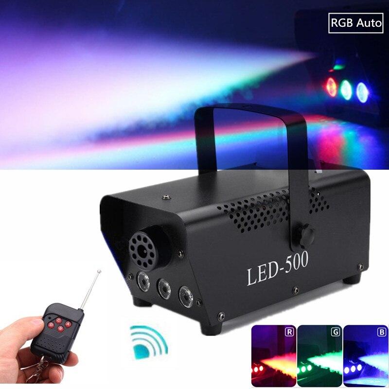500W Fog Machine With RGB LED Lights Wireless Control Smoke Machine Remote Smoke Ejector LED DJ Party Stage Light Smoke Thrower title=