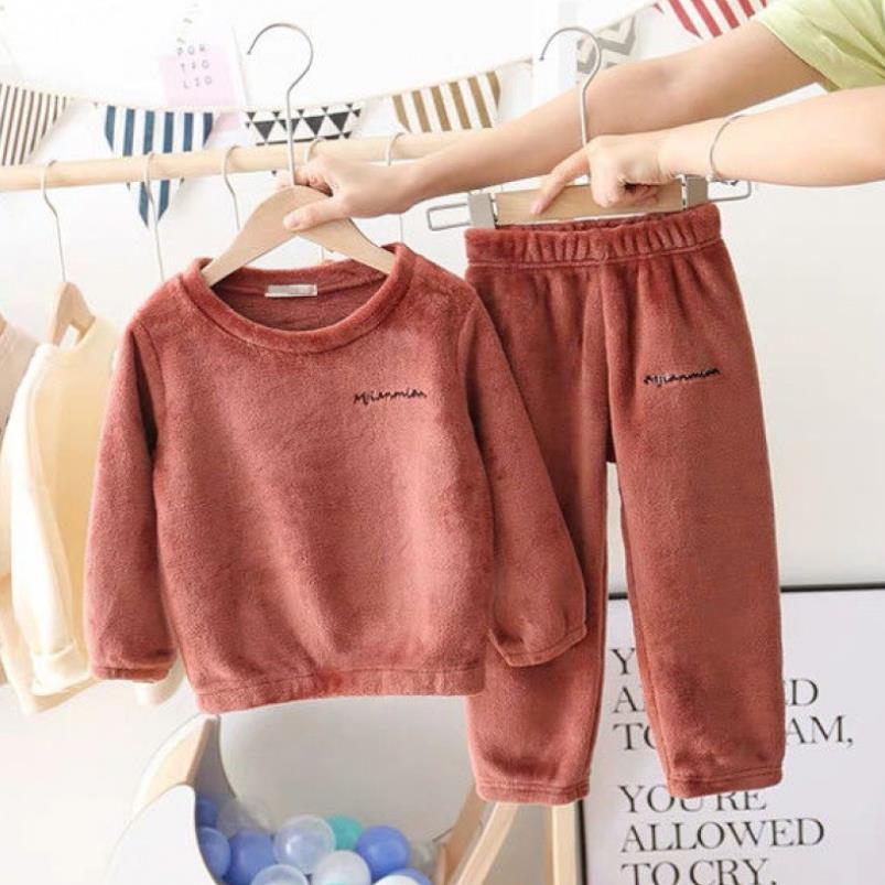 New Winter Children Fleece Pajamas Thicken Warm Flannel Sleepwear Girls Loungewear Coral Fleece Kids Pyjamas Boy Homewear Suit 4