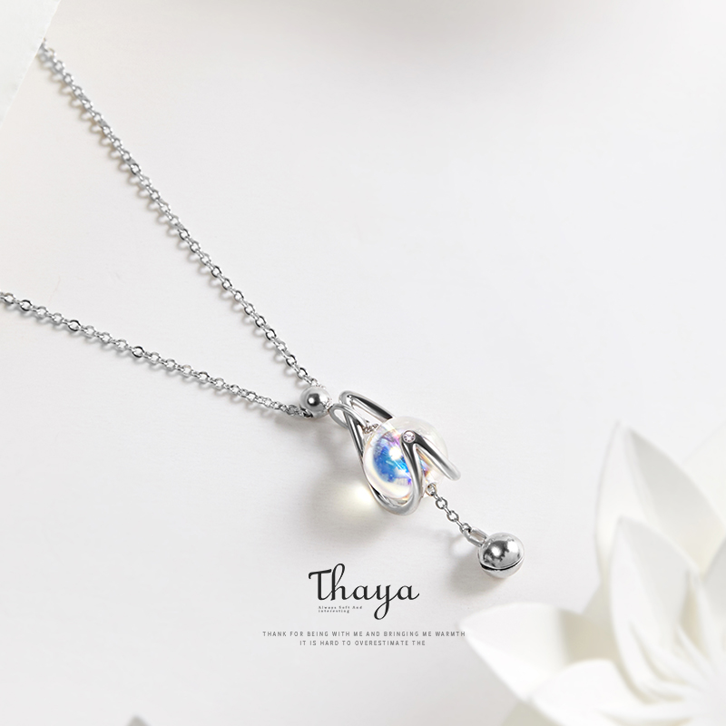 Thaya Unique Style Water Drop Necklace 925 Silver Color beads Necklace for Girls Special Gift