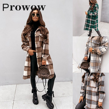 normov casual women woolen coats autumn winter turn down collar long sleeve button wide waisted coat loose solid coats Prowow Women Plaid Long Woolen Coats Winter Casual Loose Streetwear Female Long Sleeve Turn-down Collar Single Breasted Jackets