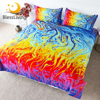 BlessLiving Lava Bedding Set Marble Duvet Cover Golden Blue Magma Bed Cover Set Queen Colorful Pigment Art Bed Linen 3 Piece
