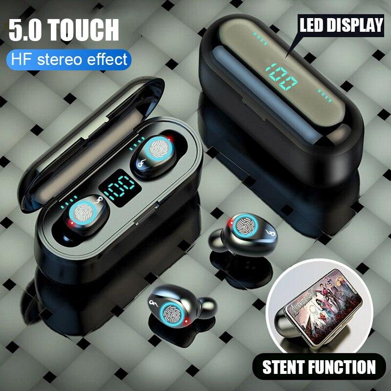 GOOJODOQ Wireless Bluetooth Earphone MINI TWS 5.0 LED Sports Noise Canceling Headphones HiFi 8D Stereo Waterproof 2000mah
