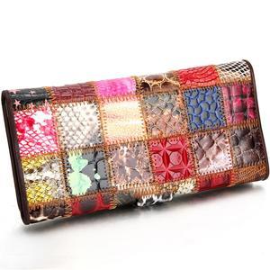 Image 2 - Westal bolsa de embreagem feminina carteira feminina couro genuíno colorido moeda bolsa feminina carteiras de couro feminino dinheiro sacos 4202