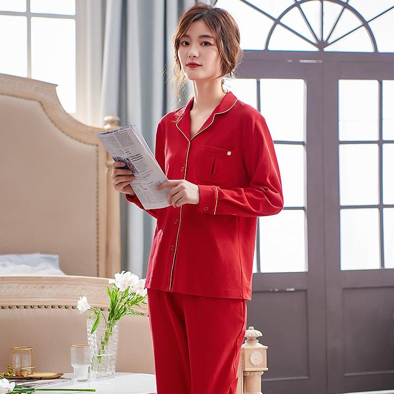 Christmas Pajamas Women Red Sleepwear 100% Cotton Long Sleeves Cardigan Two Pieces Chinese Red Wedding Pajamas Christmas Red Set