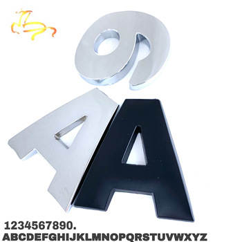 DIY Car Sticker Letter Digital Alphabet Emblem Motorcycle Badge Auto Number Metal Decal For BMW Ford Car Styling image