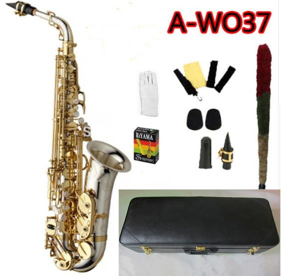 NEW Saxophone A-WO37 Alto Saxophone Nickel Plated Gold Key Professional Sax Mouthpiece With Case And Accessories