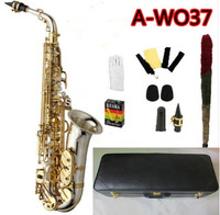 NEW Saxophone A WO37 Alto Saxophone Nickel Plated Gold Key Professional Sax Mouthpiece With Case and Accessories