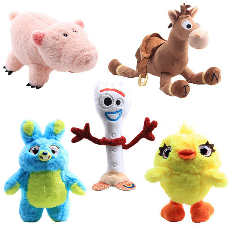 Disney Toy Story 4 Forky Bunny Duck Ducky Pink Pig Cute Cartoon Rabbit Dolls Plush Toys For Children Birthday Christmas Gifts