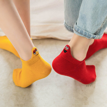 Size 35-42 Kawaii Women Socks Happy Fashion Ankle Funny Cotton Embroidered Expression Candy Color 1 Pair