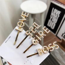 Top Fashion Women Girls Imitation Pearls Letters Hairpins Simple Ivory Hollow Out Hair Clips Handmade Holder
