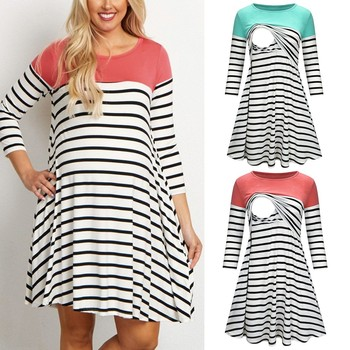 3/4 Sleeve Striped Women Maternity Dresses 1