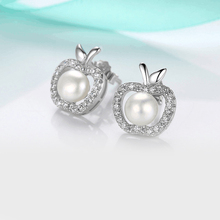 Natural freshwater pearl earrings apple  sweet Japanese and South Korean style 925 sterling silver jewelry