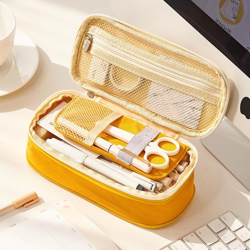 Coloffice Simple Korean Large-Capacity Canvas Pen Case Primary School Junior High School Student Stationery Bag Pencil Bag,1 PC