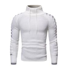 Korean Long Slim Turtleneck Men Sweater White Knitted Pullover Winter Cotton 2019