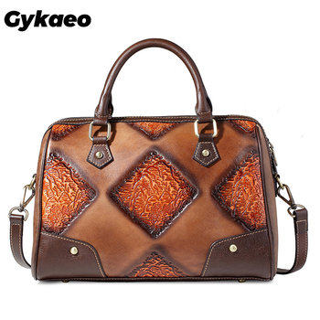Gykaeo European and American Style Retro Genuine Leather Tote Bags Handbags Women Famous Brands Portable Shoulder Bag Sac A Main