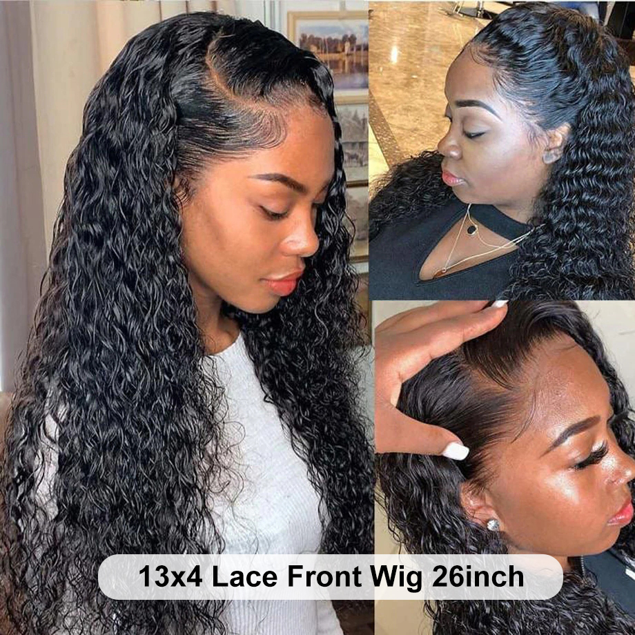 YYong 4x4 Lace Closure Wigs & 13x4 Lace Frontal Wig   Water Wave Lace Front  Wig Pre Plucked Hairline 4