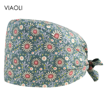 VIAOLIhigh quality Flowers printing adjustable women scrubs cap beauty pet shop spa set hat beauty salon Scrub hat Sanitary hat