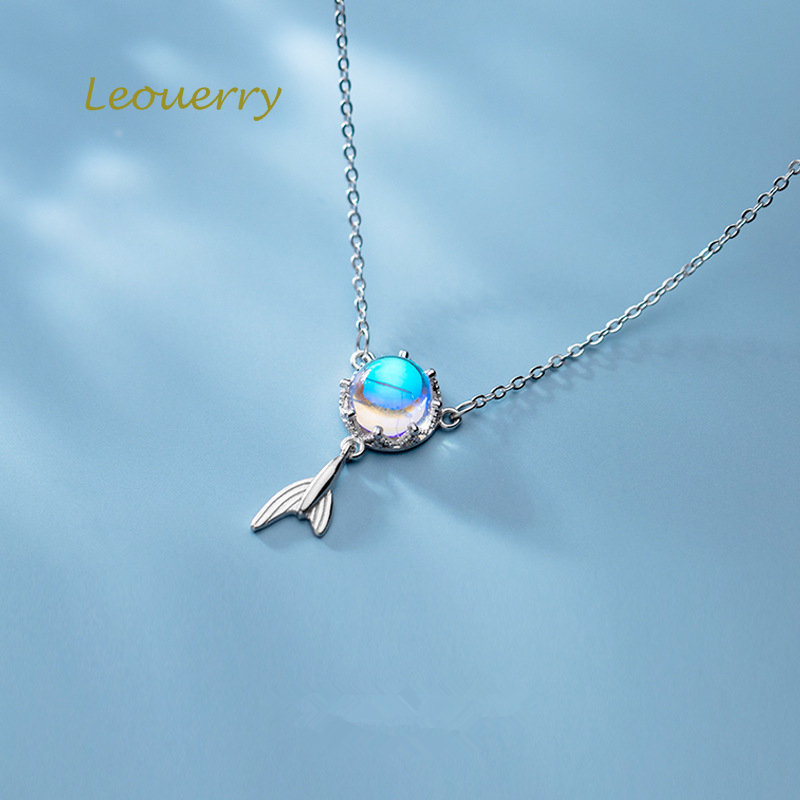 Leouerry 925 Sterling Silver Marine Aurora Fish Tail Pendant Necklaces for Women Elegant Mermaid Clavicle Chain Necklace in Necklaces from Jewelry Accessories