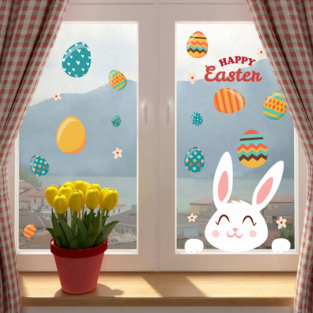 Wall-Sticker EASTER Window-Glass Egg-Bunny HAPPY Self-Adhesive PVC title=