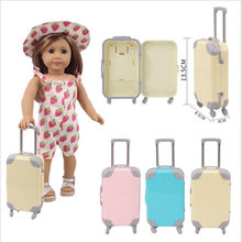 Fit 18 inch 43cm American Born New Baby Girl Doll Accessories Pink Blue Yellow Transparent Trolley Case For Baby Birthday Gift(China)