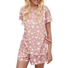 Пикантная Женская пижама с принтом звезд комплект из футболки