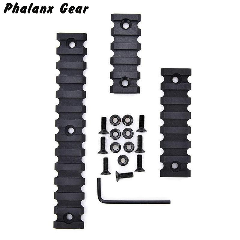 "3 Sizes Set 5 7 13 Slot 2"" 3"" 5"" Picatinny Weaver Rail Mount ABS Plastic Keymod Rail Handguard Section for Hunting(China)"