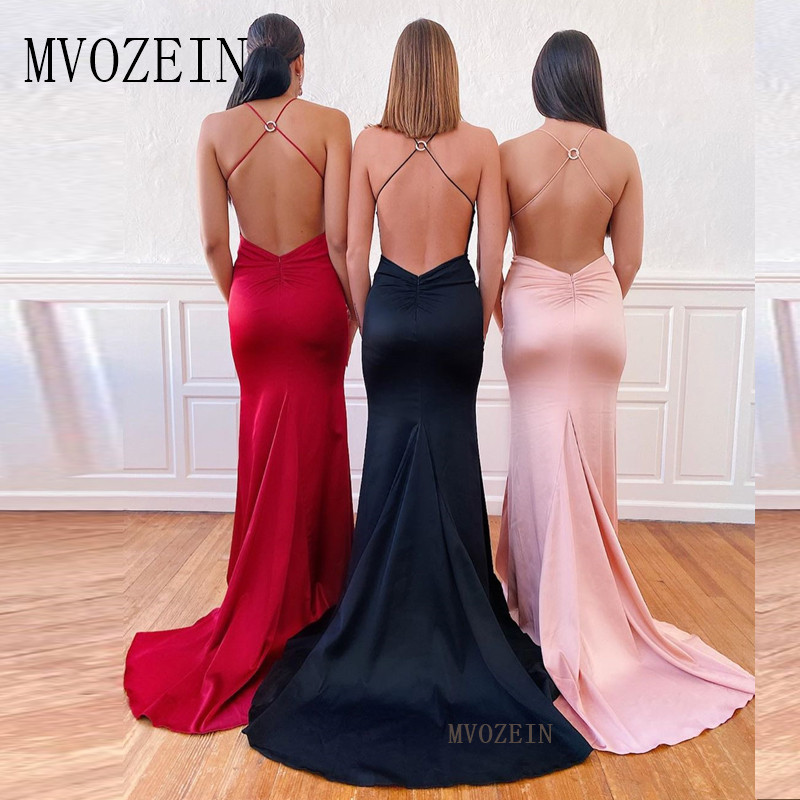 2019 New Listing Mermaid Prom Dresses Satin Spaghetti Strap Long Prom Dress Sexy Backless Party Gowns robe-de-soiree