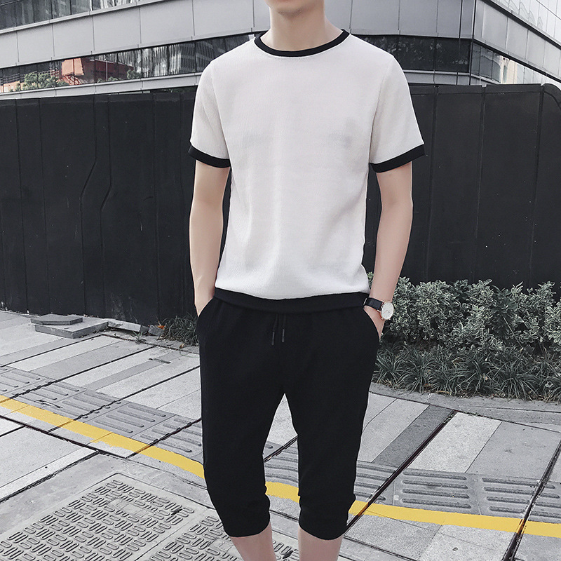 Men 2019 New Style Summer Short Sleeve T-shirt Men's Korean-style Trend Casual Sports Camouflage Set Two-Piece Clothes