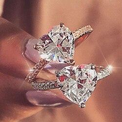 Kadın lüks kakma AAA zirkon kalp yüzükler kadınlar için moda takı gelin Promise nişan yüzüğü