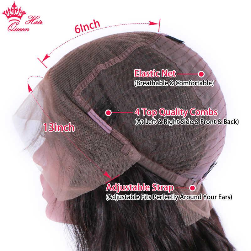 Pelo de La Reina de la tienda oficial de 13x6 HD transparente frente de encaje pelucas de cabello humano pelo negro de la onda del cuerpo sin pegamento peluca Frontal para las mujeres