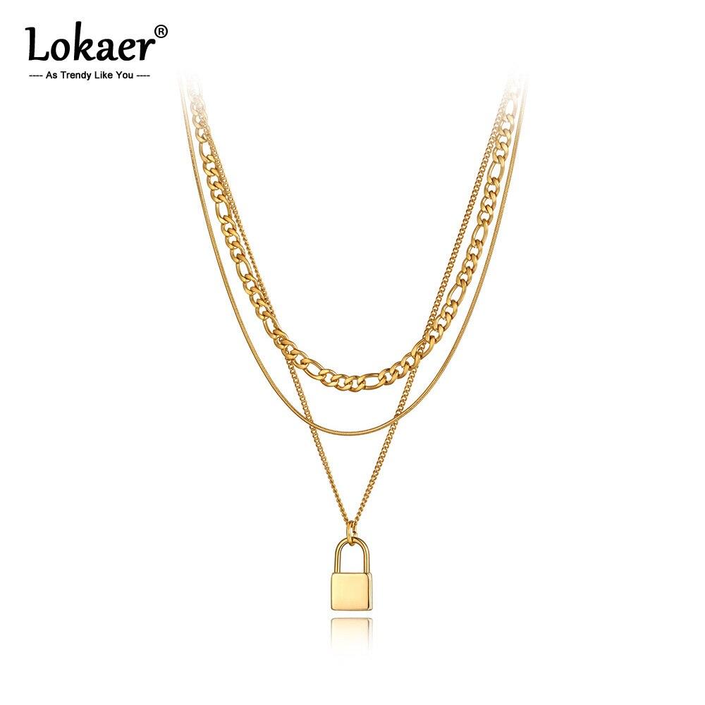 Lokaer, выполненное из нержавеющей стали, легированной титаном замок очарование кулон ювелирные изделия ожерелья с декоративными украшениями...