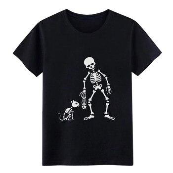 Camiseta con diseño de esqueleto de pescado de gato, camiseta personalizada de algodón de talla Europea S-3xl para hombre, nueva y famosa camiseta Kawaii a la moda