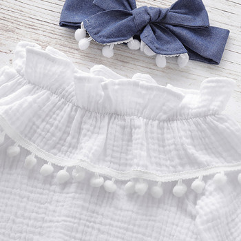 Newest Clothes Set For Girls 2019 Infant Baby Flare Sleeve Ruffles Solid Print Tops+Pants+Headband Outfits Autumn Kids Outfits 3