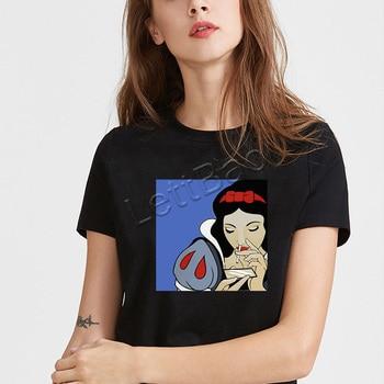 Hurtownia czarna koszulka zła dziewczyna drukuj 90s Vogue Style damska koszulka Grunge estetyczny krótki rękaw lato Ulzzang Gothic Top