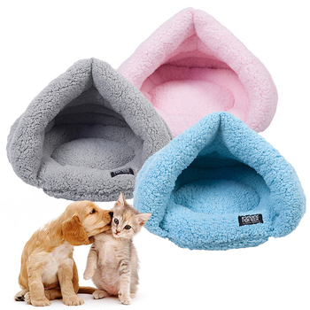 Puppy Pet Cat Dog Soft Winter Warm Nest Kennel Fleece Bed Cave House Sleeping Bag Mat Pad Tent Blanket Cushion Basket Supplie 1