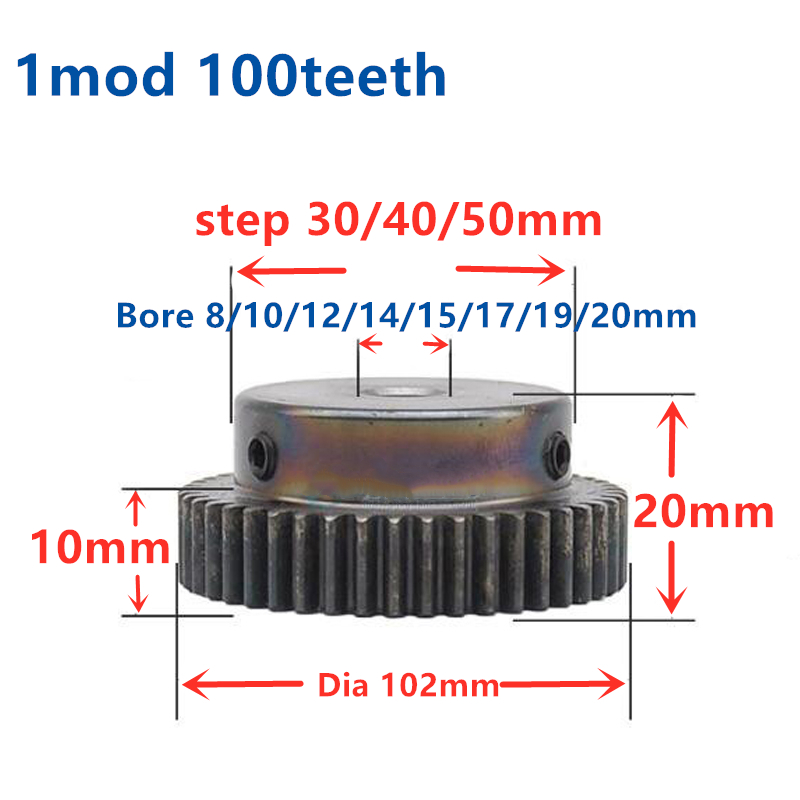 1.5Mod 66T 45# Steel Motor Spur Pinion Gear Outer Dia 102mm Thickness 15mm Qty 1