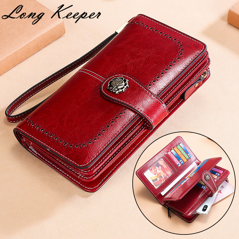 NEW Genuine Leather Women Wallets Flower Brand Design High Quality Card Holder Long Lady Wallet Clutch Purse Phone Bag carteira image