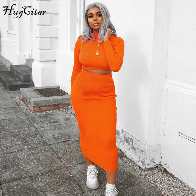 Hugcitar high neck long sleeve crop tops skirt 2 two pieces set 2019 autumn winter women fashion streetwear solid tracksuits 3