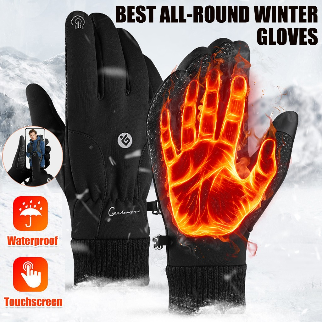 All Weather Thermal Touchscreen Gloves Winter Warm Thermal Ski Cycling Gloves Windproof Slip Resistant Water Resistant Gloves