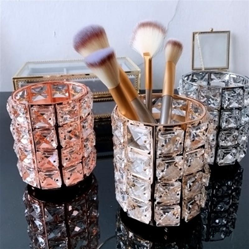 European Makeup Brush Organizer Holder Gold Crystal Cosmetic Storage Pot Desk Pen Holder Desktable Decor Home Office Storage Box in Storage Boxes Bins from Home Garden