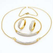 New women gift party jewelry gold stainless white crystal bracelet earring and necklace set(China)