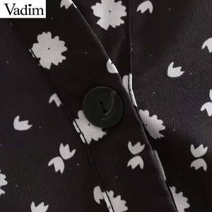 Image 4 - Vadim المرأة خمر الأزهار طباعة البسيطة اللباس طويلة الأكمام الإناث عارضة مستقيم فساتين vestidos موهير QC842