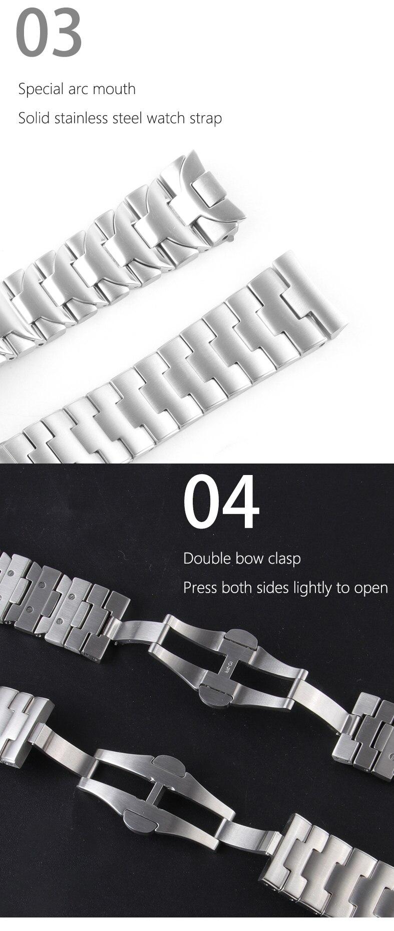 fivela fecho 24mm prata pulseira para pam
