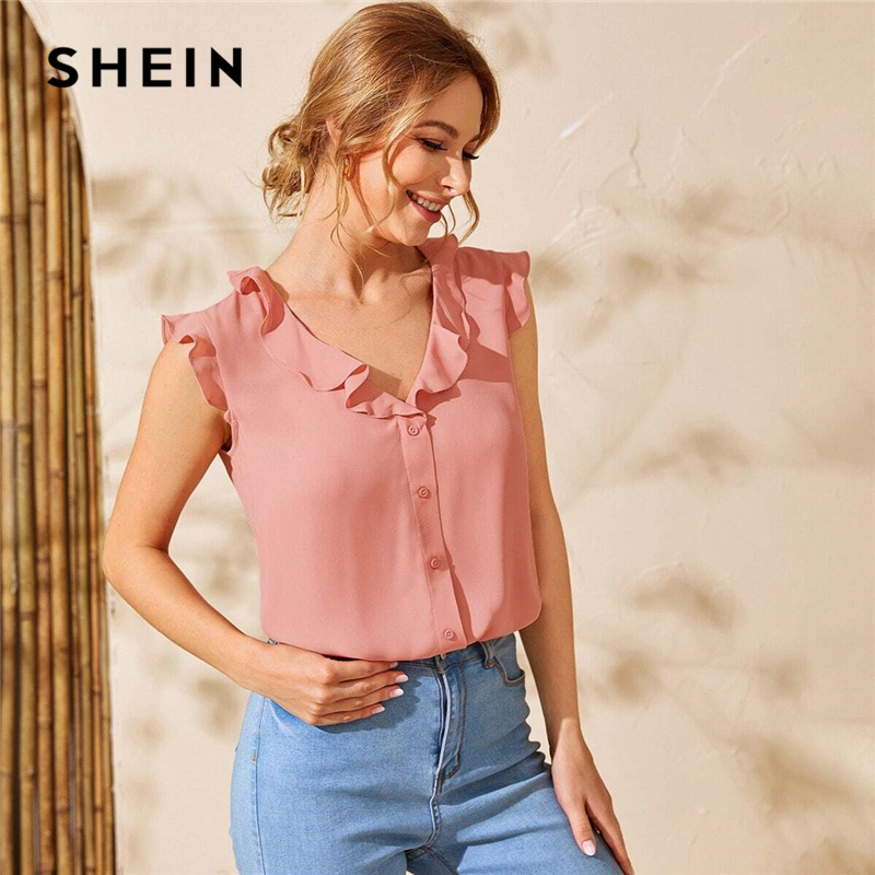 SHEIN Pink Ruffle Trim Button Front Solid Blouse Top Women 2020 Summer V Neck Cap Sleeve Ladies Cute Shirt Blouses