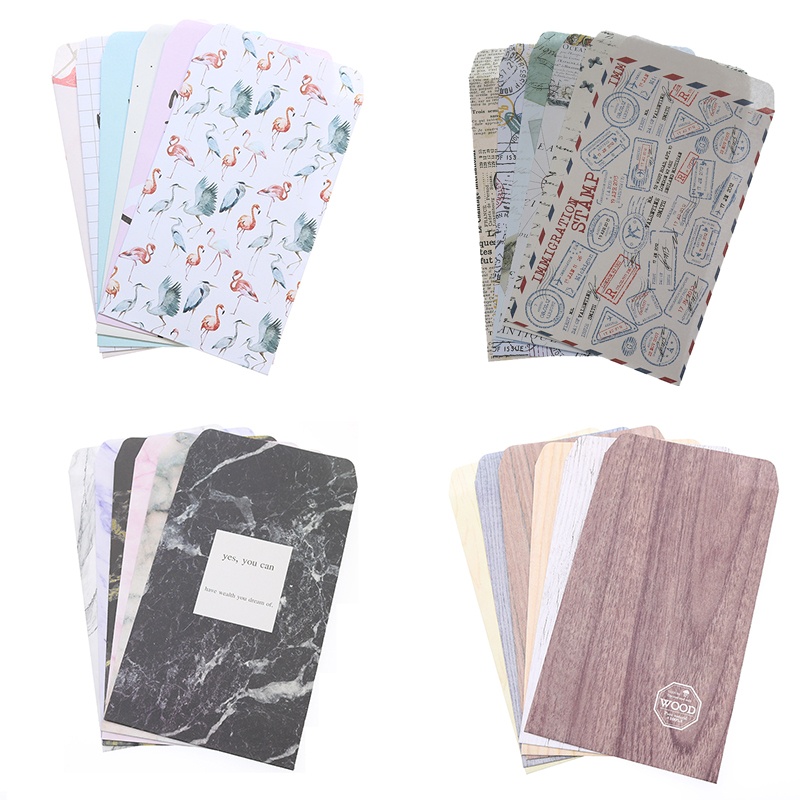 6 Pieces / Retro European Retro Feeling Paper Envelope Card Marble Pattern Cover Scrapbook Office Gift Writing Envelope