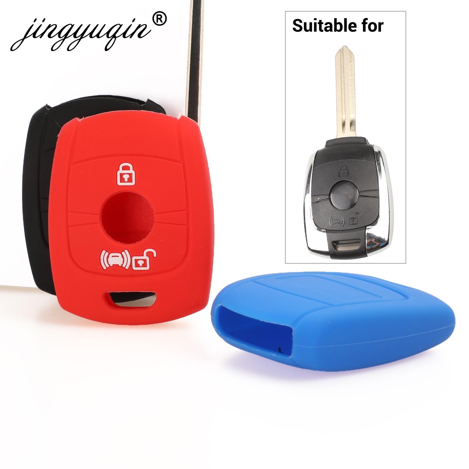 Jingyuqin 2 boutons à distance clé coque en silicone Fob pour SsangYong Actyon Kyron Rexton Korando voiture style clés en caoutchouc couverture